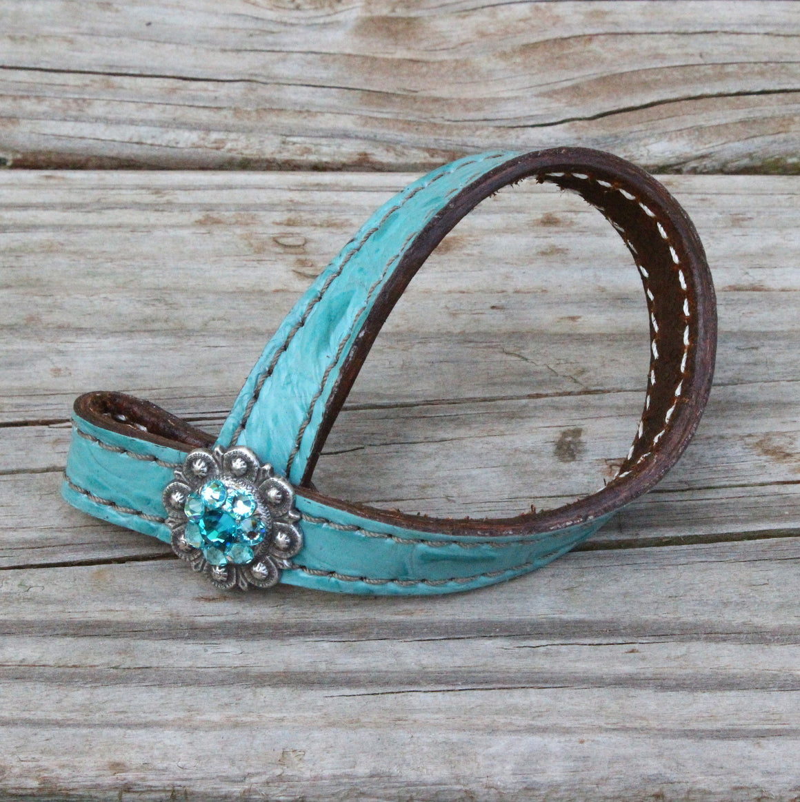 Teal Gator TieDown Keeper w/Turquoise & Teal Crystal Rhinestone Concho