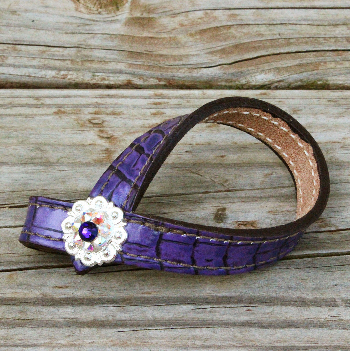 Antique Purple Gator TieDown Keeper w/AB & Purple Crystal Rhinestone Concho