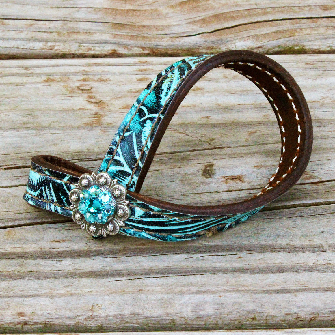 Teal Filigree TieDown Keeper w/Turquoise & Teal Crystal Rhinestone Concho