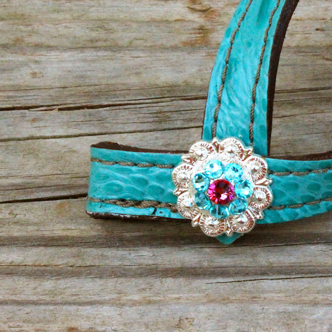 Teal Gator TieDown Keeper w/Turquoise & Pink Crystal Rhinestone Concho