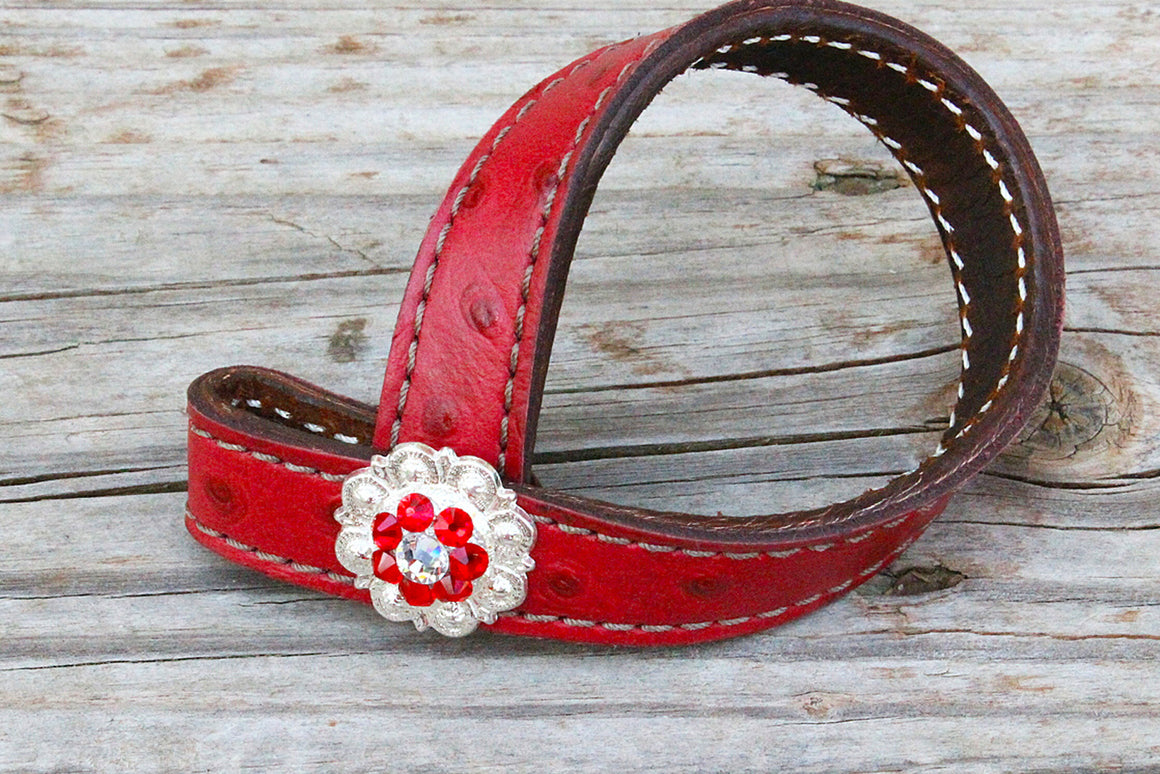 Red Ostrich TieDown Keeper w/Red & Clear Crystal Rhinestone Concho