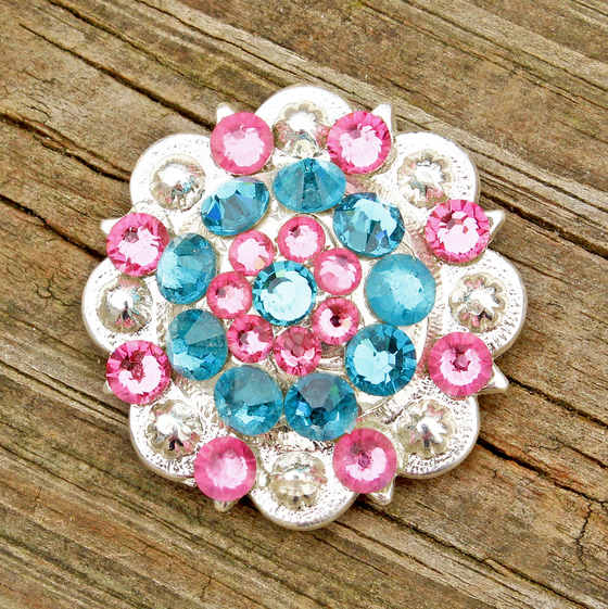 Teal & Pink Bright Siver Conchos & Buckles