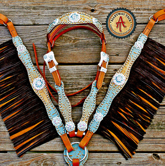 Tan & Turquoise /Tan Leather DBL Fringe Browband Tack Set w/AB & Turquoise Crystal Rhinestone Conchos