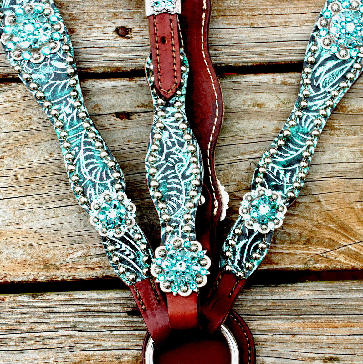 Teal Filigree/Chestnut Leather One Ear Tack Set w/Teal & Turquoise Crystal Rhinestone Conchos