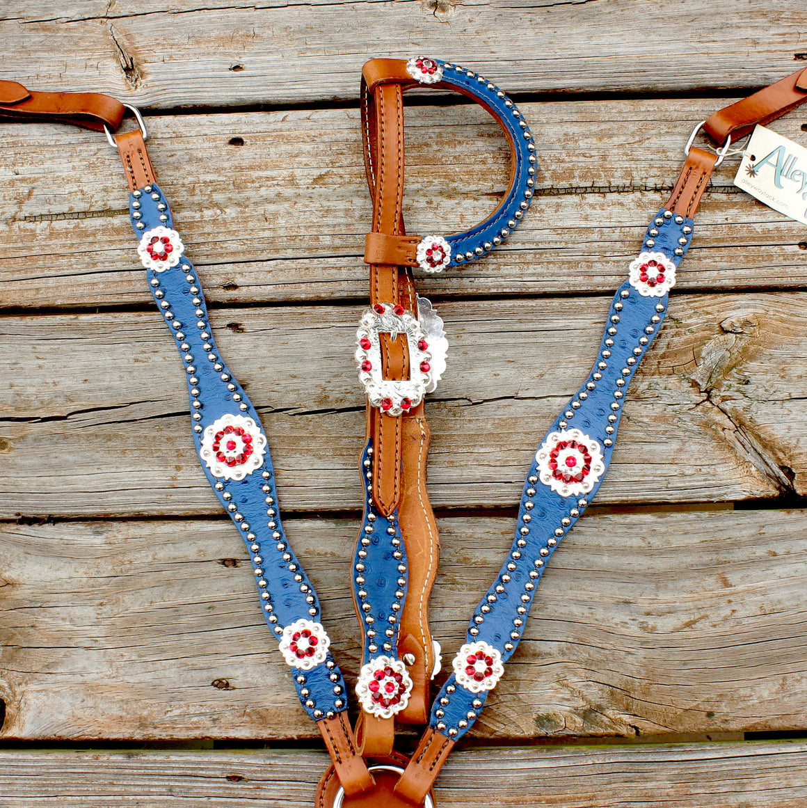 Royal Blue Ostrich/Tan Leather One Ear Tack Set w/Red & Clear Crystal Rhinestone Conchos