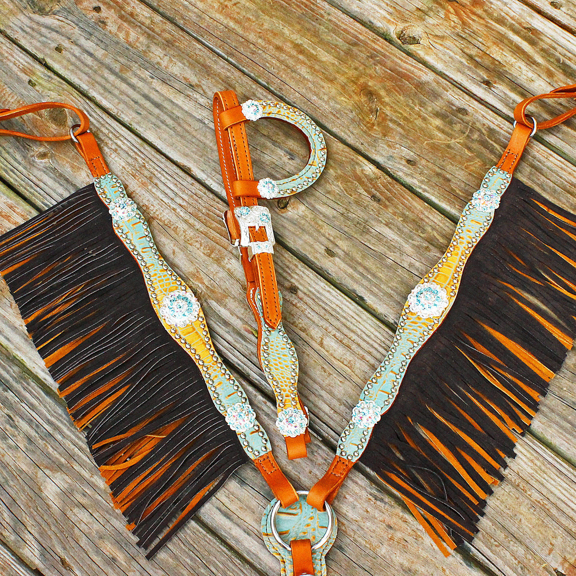 Tan & Brown/Tan Leather DBL Fringe One EarTack Set w/AB & Turquoise Crystal Rhinestone Conchos