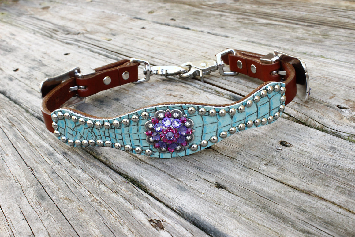 Antique Teal Gator Wither Strap w/Chestnut Leather W/ Fuchsia & Purple Crystal Rhinestone Concho