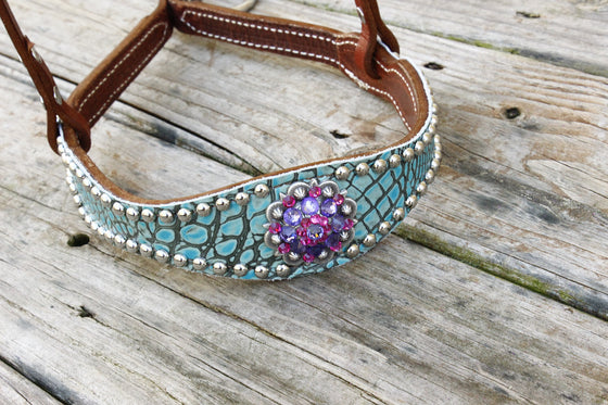 Antique Teal Gator/Chestnut Leather Tie Down w/ Fuchsia & Purple Crystal Rhinestone Concho