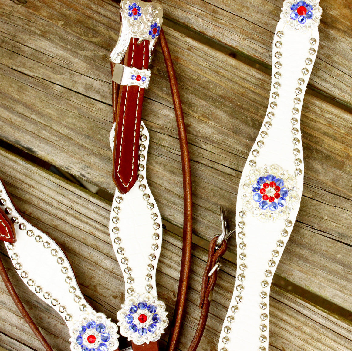 White Gator/Chestnut Leather Browband Tack Set w/Sapphire ,Red & Clear Crystal Rhinestone Conchos