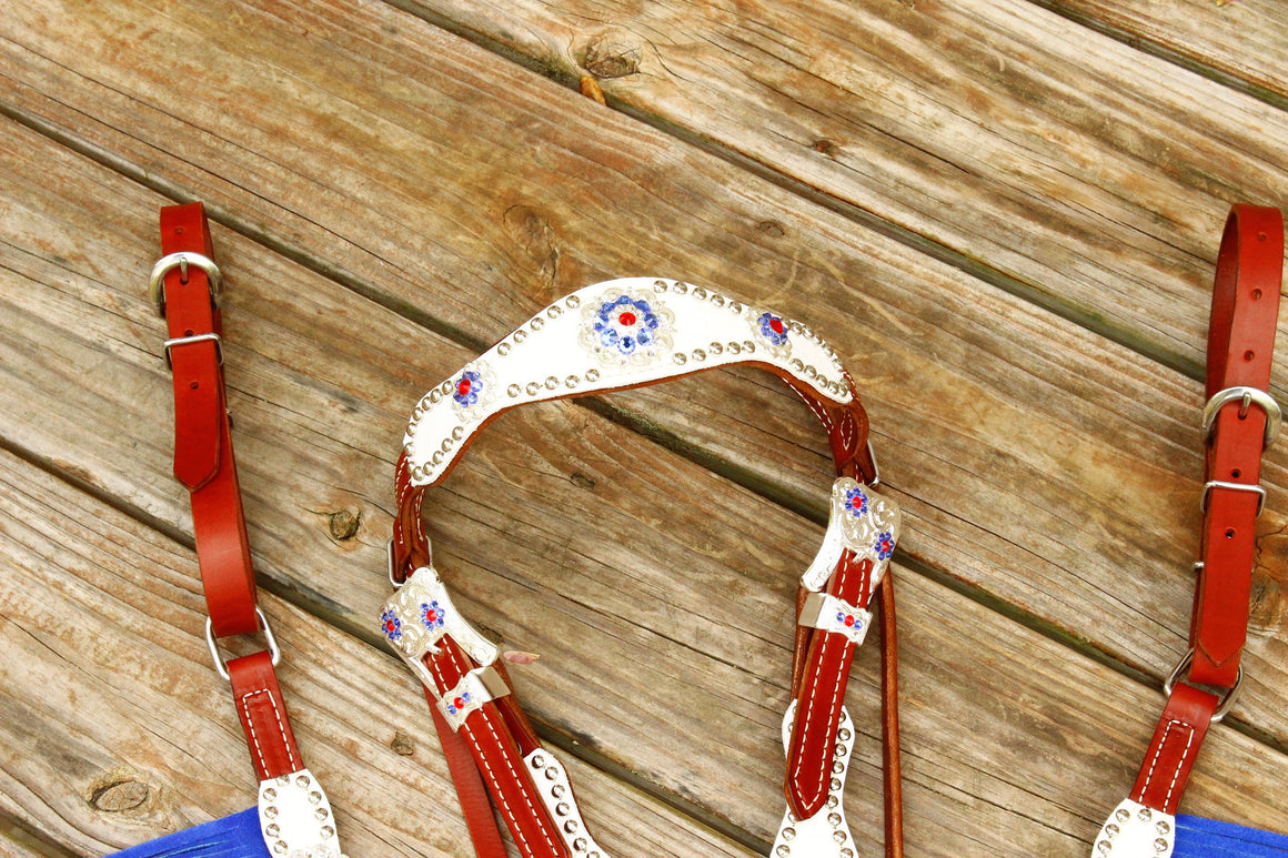 White Gator /Chestnut Leather DBL Fringe Browband Tack Set w/Sapphire Red & Clear Crystal Rhinestone Conchos