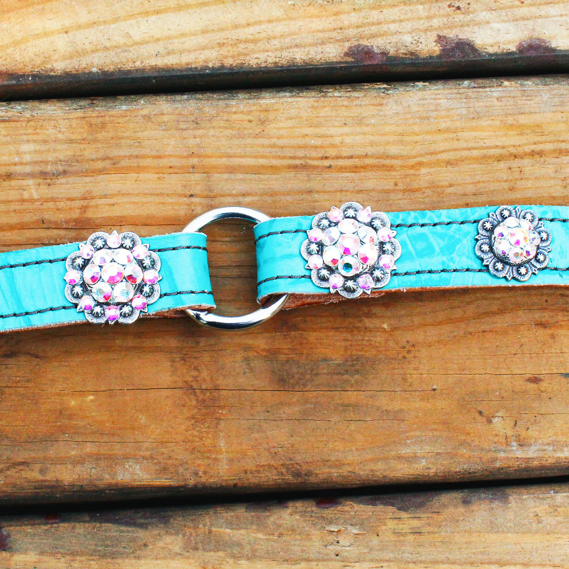 Teal Gator 1 Inch Center Ring Dog Collar with AB Crystal Rhinestone Conchos
