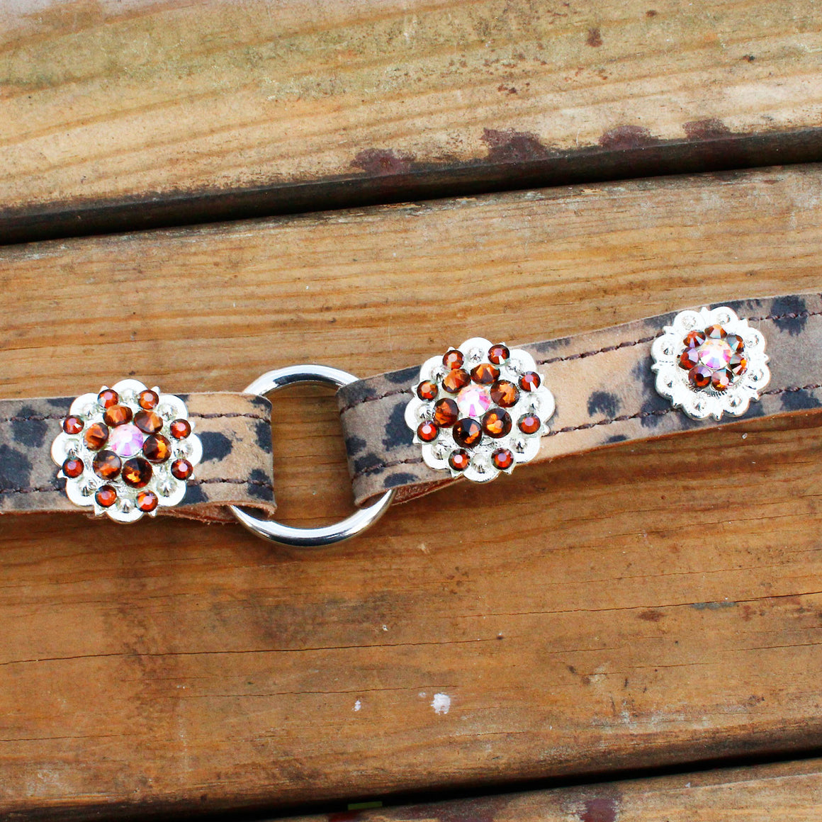 Cheetah Print 1 Inch Center Ring Dog Collar with AB and Smoke Topaz Conchos