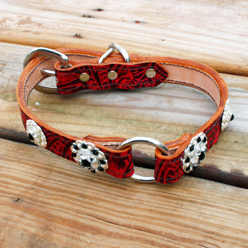 Red Filigree 1 Inch Center Ring Dog Collar with Jet and Clear Conchos