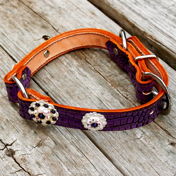 Antique Purple Gator 1 Inch Center Ring Dog Collar with AB and Dark Purple Conchos