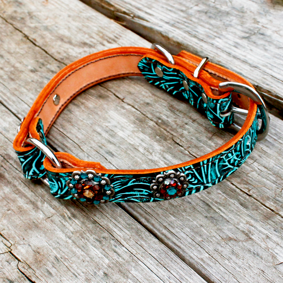 Teal Filigree 1 Inch Center Ring Dog Collar with Smoked Topaz, Teal & Champagne Conchos