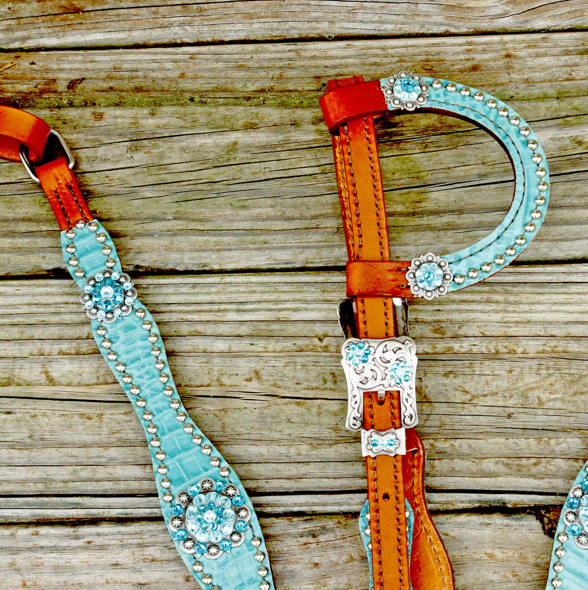 Teal Gator/Tan Leather One Ear Tack Set w/Teal & Turquoise Crystal Rhinestone Conchos