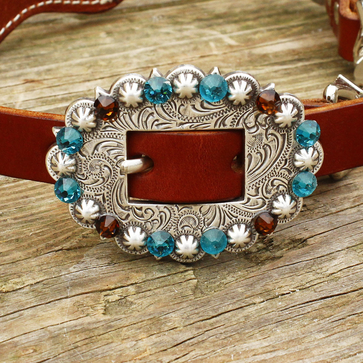 Teal & Brown Gator/Chestnut Leather Wither Strap w/Teal, Topaz & Lt. Topaz Crystal Rhinestone Concho