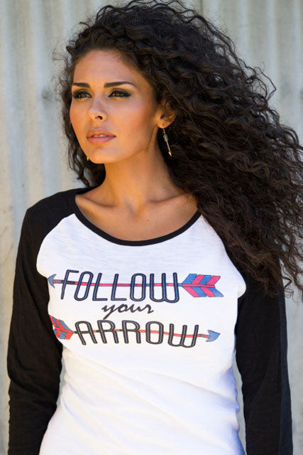 Follow Your Arrow Baseball Burnout Tee