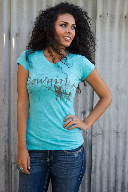 Cowgirl Short Sleeve Burnout Tee