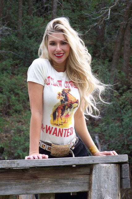 Outlaw Cowgirl's Wanted Short Sleeve. Tee