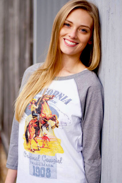 Retro California Cowgirl Raglan Baseball Tee
