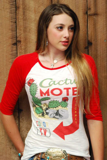 "Cactus Motel 3/4 Sleeve ""Slub"" Burnout Baseball Tee"