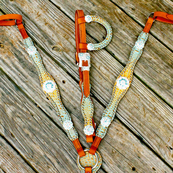 Tan & Teal Gator/Tan Leather One Ear Tack Set w/AB & Turquoise Crystal Rhinestone Conchos