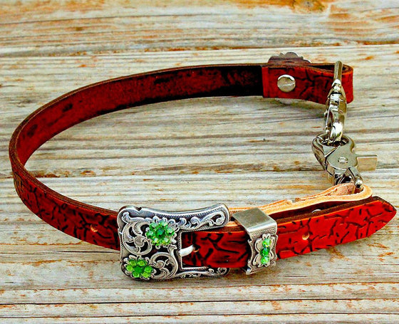 Crackle Embossed Wither Strap w/Fern & Lime Crystal Rhinestone Concho & Buckle