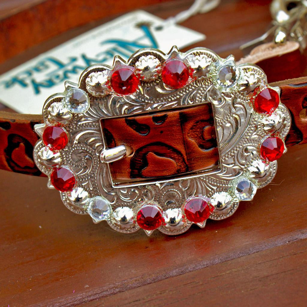 Cheetah Embossed Wither Strap w/Red & Clear Crystal Rhinestone Concho & Buckle