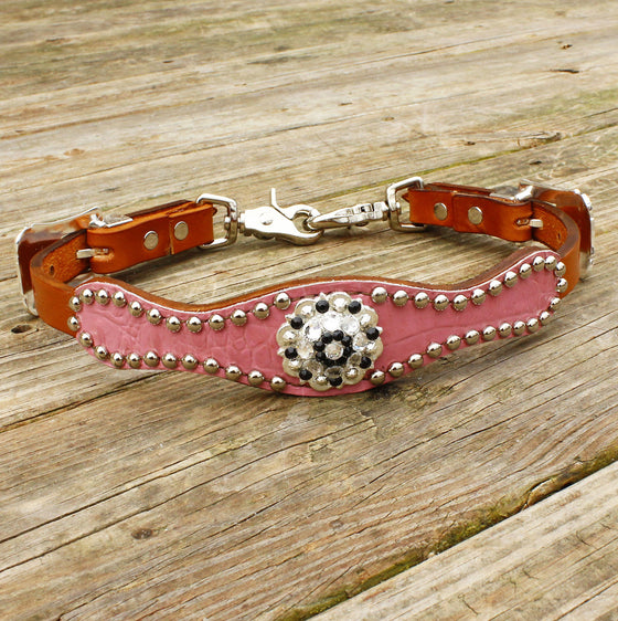 Pink Gator/Tan Leather Wither Strap w/Black & Clear Crystal Rhinestone Concho