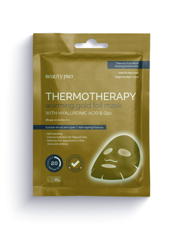 Beauty Pro Thermotherapy Warming Gold Foil Mask with Hyaluronic Acid & Q10