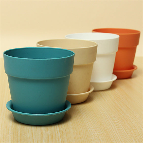 1 Pc Resin Plastic Flowerpot with tray