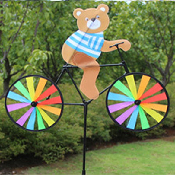 Bear on Bike Windmill Whirligig