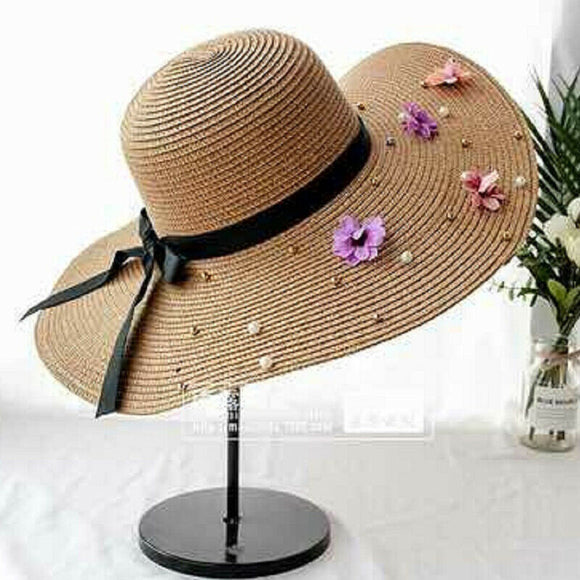 Women Fashion Summer Beach Sun Visor Straw Beach Hat
