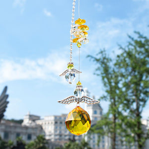 Yellow Hanging Crystal Guardian Angel