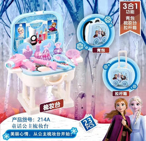 Frozen 2 elsa anna  Makeup set  Disney girls Multifunction Trolley case Cosmetic box