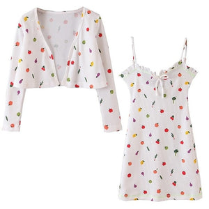 Retro White Colored Fruit Print Cardigan Long sleeve with matching Mini Dress