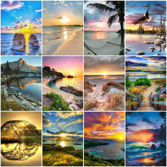 Painting By Numbers Seascape Canvas Wall Art Landscape