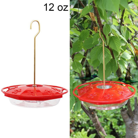 12 Oz Plastic Outdoor Hanging Hummingbird Feeder with 8 Feeding Ports