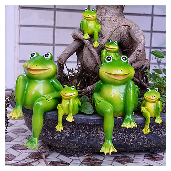 2pcs/Set Resin Sitting Frogs Statue