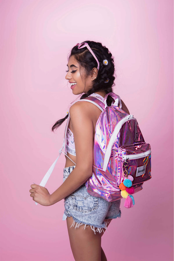 Festy Besty Time Traveler Backpack Bubblegum Pink Holographic