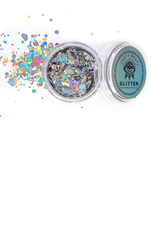 Silver Holographic Festival Glitter by Festy Besty