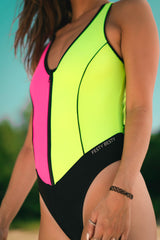 Festy Besty MotoSport[001] One-Piece Swimsuit Black/Neon Pink/Neon Green/3M Reflective Logo
