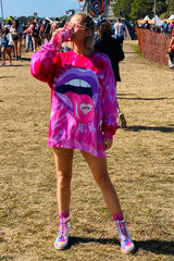 Festy Besty - Love Is A Drug Worth Taking Pink Tie Dye Crewneck | Okeechobee Music Festival