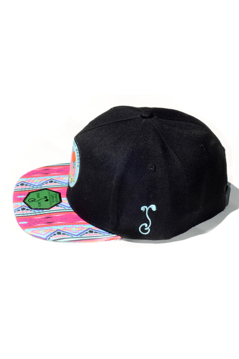 FESTY BESTY X Grassroots California Not All Who Wander Hat Black/Pink/Teal