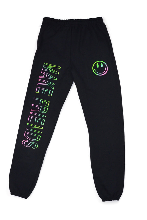 Festy Besty - Make Friends Fleece Joggers, Neon Tie Dye Smiley & Text