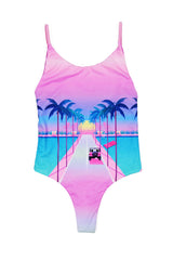 Festy Besty X Yoko Honda Miami One-Piece Swimsuit Reversible Miami Drive Pink/Teal OmbreFesty Besty X Yoko Honda Miami One-Piece Swimsuit Reversible Miami Drive Pink/Teal Ombre