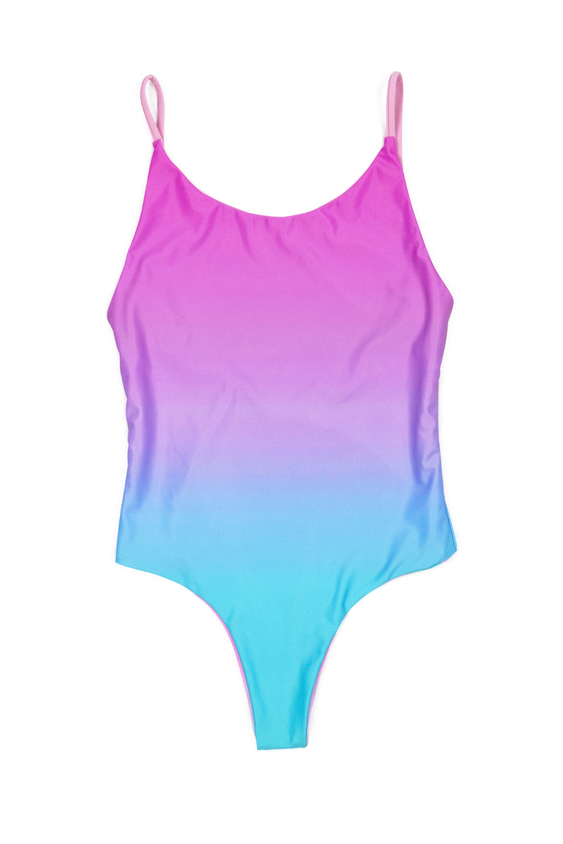 Festy Besty X Yoko Honda Miami One-Piece Swimsuit Reversible Miami Drive Pink/Teal Ombre