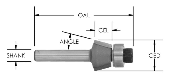 SE2300 - C/T 15 Deg Bevel Bit x 1/2 Height x 1/2 CL x 1/4