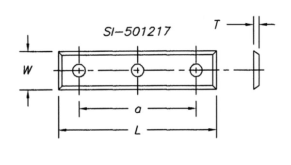 SI-501017 - Insert 50 x 10.0 x 1.7,  4 sided with 3 hole